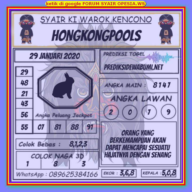 Kode syair Hongkong Rabu 29 Januari 2020 194