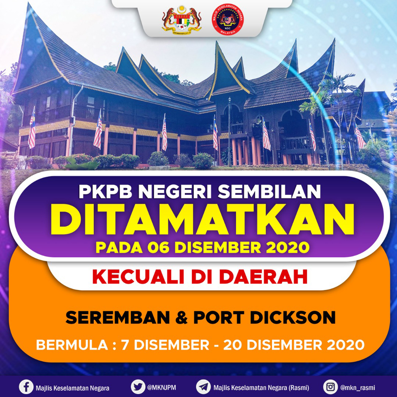 PKPB Seremban sampai 20 Disember 2020