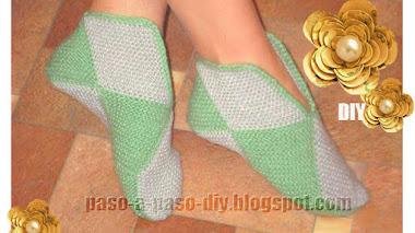 Cómo tejer pantuflas con cuadros dos agujas / DIY