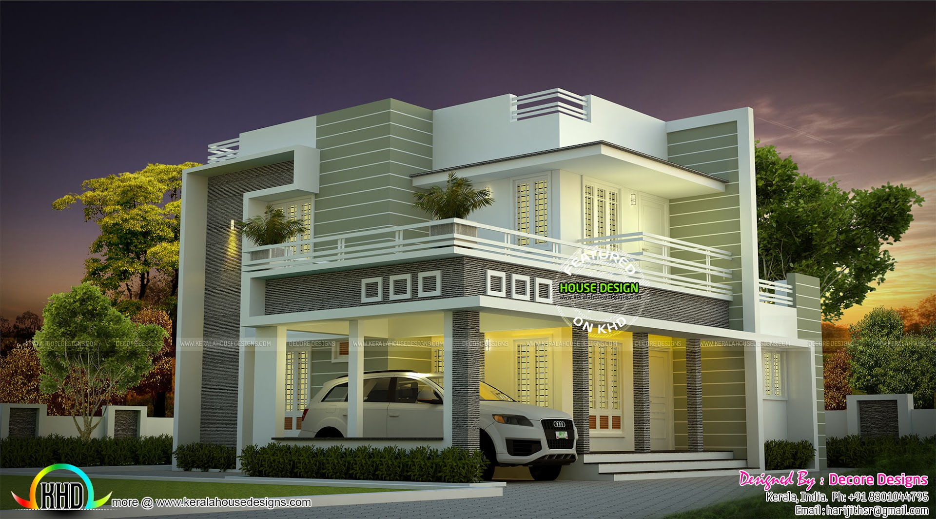Sober colored beautiful modern house architecture kerala for Beautiful contemporary house designs