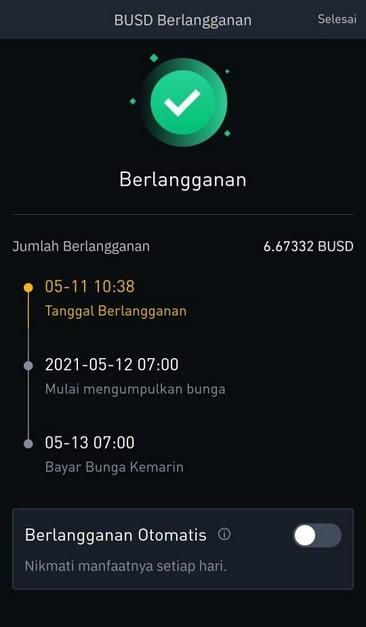 Rincian Transaksi Binance Earn BUSD