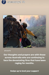 Duke and Duchess of Sussex send message of sympathy to Australians ref the continuing wild fires
