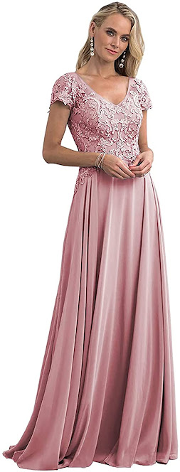 Short Sleeve Pink Mother of The Groom Dresses