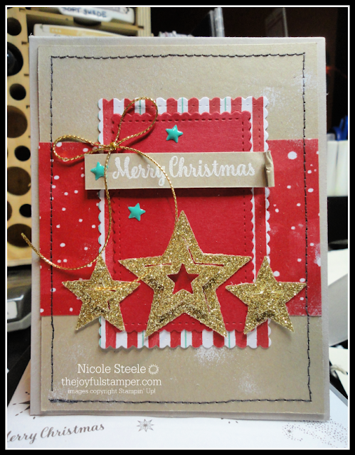 Stampin' Up!'s Sweetly Stitched dies with Let It Snow designer series paper | card by Nicole Steele The Joyful Stamper