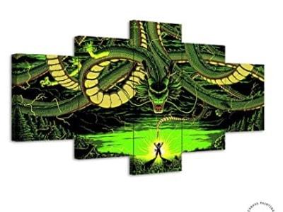cuadro 5 piezas de liebnzo shenron dragon ball z
