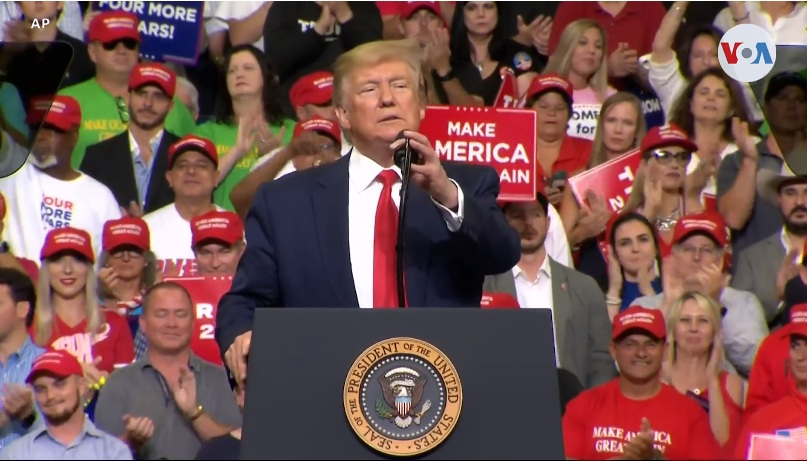 Donald Trump lanzó oficialmente su campaña de reelección para 2020 desde Florida / AP / VOA