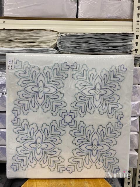 Hotfix stickers dmc rhinestone aplikasi tudung bawal fabrik pakaian corak bunga 4 bucu biru