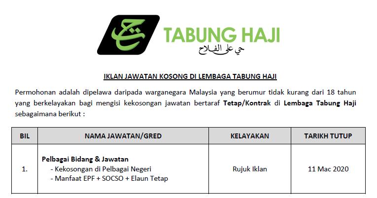 Jawatan Kosong Terkini 2020 Di Lembaga Tabung Haji
