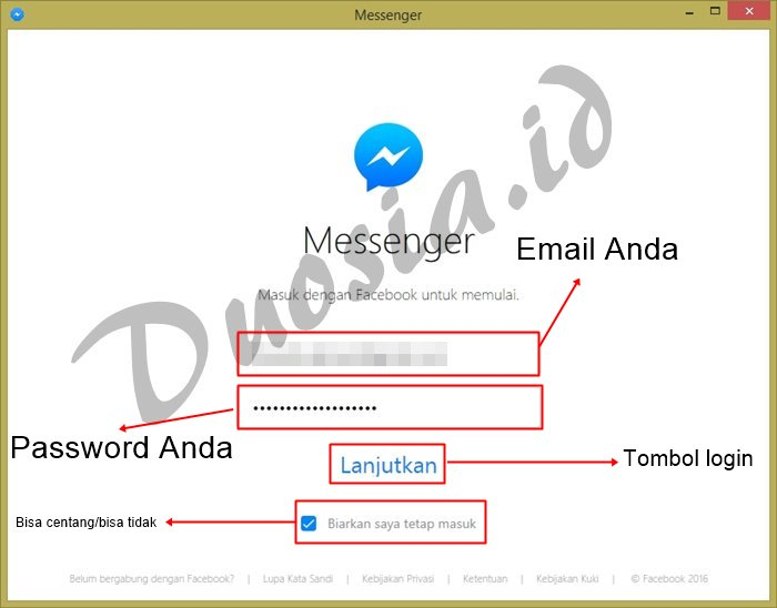 Login di Messenger for PC