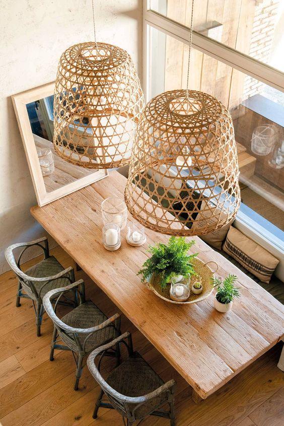 Lámparas con fibras naturales