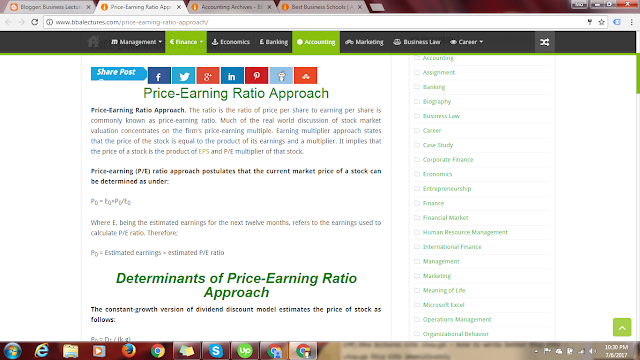 Price-Earning Ratio Approach