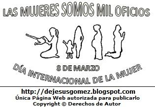 Silueta de mujeres por el Día Internacional de la Mujer para colorear, pintar e imprimir (Mujer con su regadera, mujer con su hija, mujer embarazada, mujer rezando). Dibujo hecho por Jesus Gómez