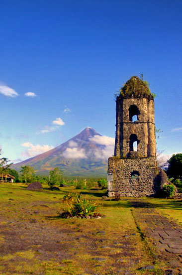 The Mayon Volcano and the Cagsawa Ruins in Bicol