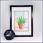 Modern succulent A4 print and stitch on card paper pricking hand embroidery pattern for picture making.