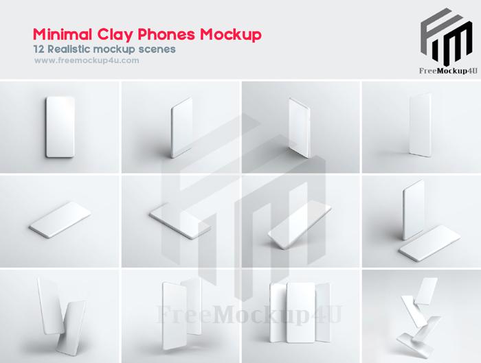 Minimal Clay Realistic Look  Phones Mockup Big Bundle Pack 01