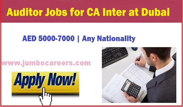Auditor jobs in Dubai, CA inter job vacancies with salary,