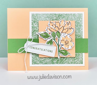 Stampin' Up! Hand Penned Petals Congratulations Card + DSP Video ~ 2021-2022 Annual Catalog ~ www.juliedavison.com #stampinup