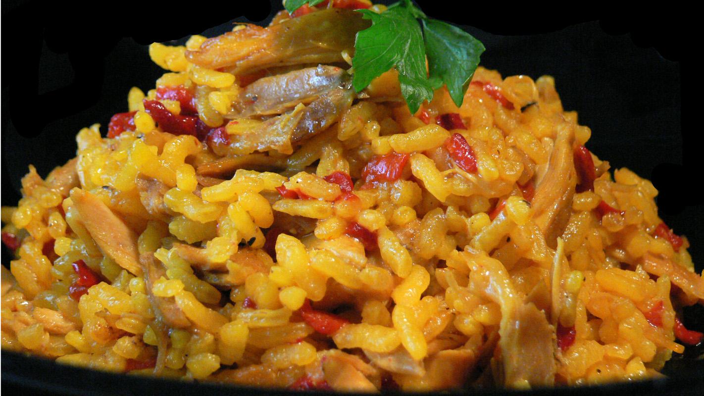 Cocinar para los amigos arroz al horno con pollo y pimientos for Cocinar 2 tazas de arroz