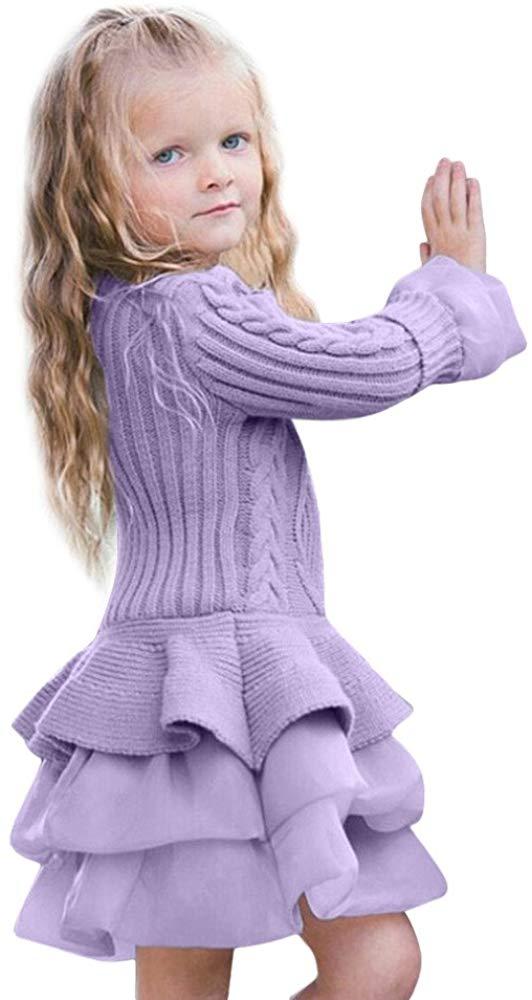 Iuhan Kids Girls Knitted Sweater Winter Pullovers Crochet Tutu Dress Tops Clothesv