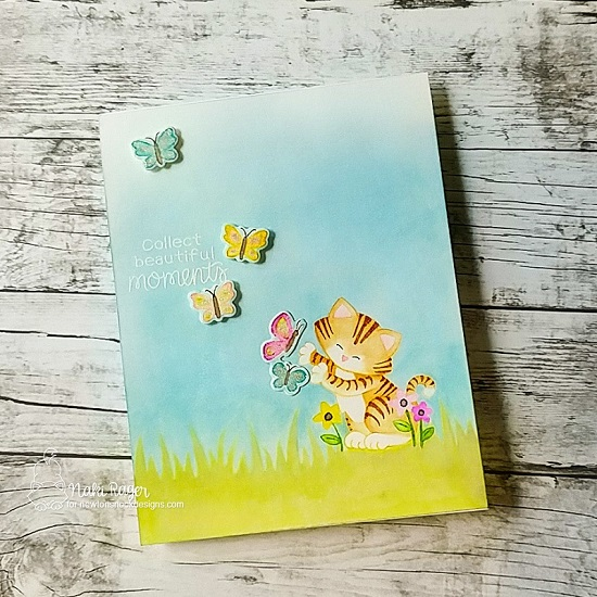 Cat Chasing Butterflies Card by Naki Rager | Newton's Flower Garden Stamp Set and Hills & Grass Stencil by Newton's Nook Designs #newtonsnook #handmade