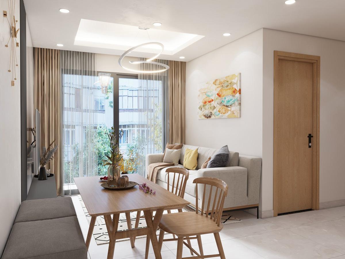Thiết kế nội thất căn hộ 55m2 Vinhomes Ocean Park Gia Lâm