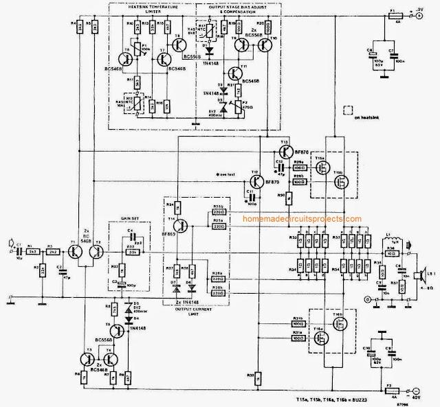 Circuit Diagram for 60W, 100W, 150W, 250W Power Amplifier