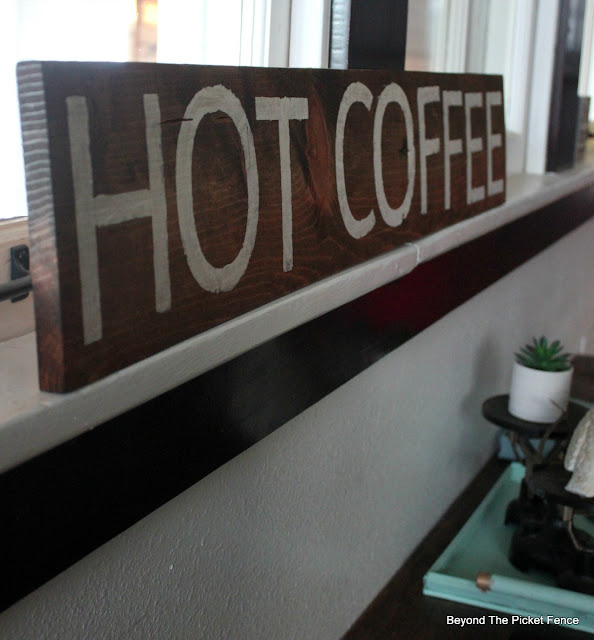 hot coffee sign painted on pallet wood