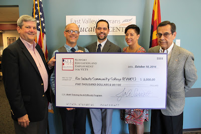 "Pictured left to right: S.E.E.4Vets Vice Chairman of the Board Vern ""Rusty"" Findley, Dean of Instruction & Community Development Greg Pereira, EVVEC Site Coordinator Troy Friedman, S.E.E.4Vets Executive Board Member Joanna Sweatt, S.E.E.4Vets Chairman of the Board Ray Torres holding a grant check for $5000"