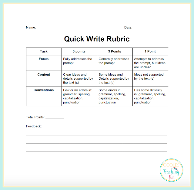 Free quick write rubric printable tn