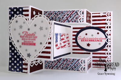 Our Daily Bread Designs Stamp Sets: Remembrance, USA, Paper Collection: Stars and Stripes, Custom Dies: Tri-Shutter Card, Tri-Shutter Layers,  Deco Border, Ornate Hearts, Stitched Ovals, Pierced Rectangles, Sparkling Stars