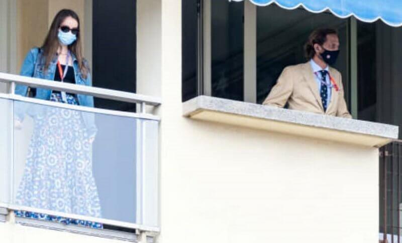 Princess Alexandra wore a kaleidoscope cotton skirt from La DoubleJ. Prince Jacques, Princess Gabriella and Andrea Casiraghi
