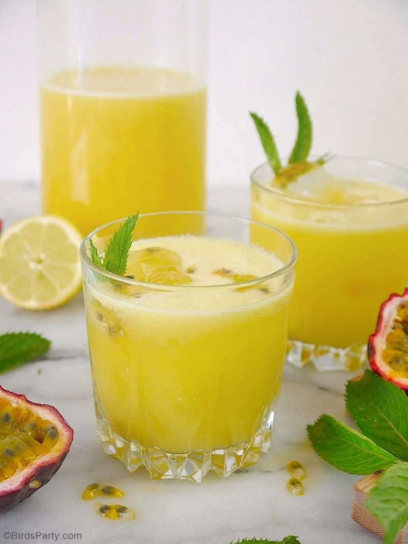 Passion Fruit Lemonade Recipe - an easy and delicious recipe that's perfect for serving on a hot summer's day! by BirdsParty.com @birdsparty #lemonade #passionfruit #recipe #summerdrink #summerrecipe #drinks #beverages