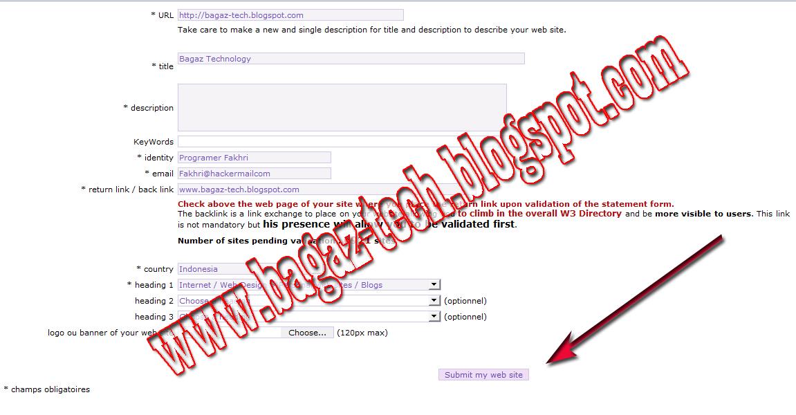 Cara mendaftarkan blog ke w3 directory - YADI TRICK