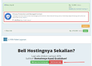 Pilih beli domain saja apabila hanya akan membeli domain saja tanpa hosting