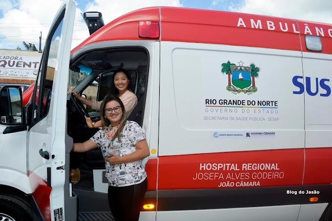 Hospital Regional de João Câmara recebe Ambulância OKMm do governo do Estado.