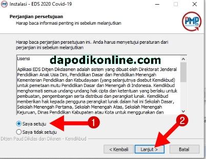 "Beri item ""Saya setuju' dan klik ""lanjut"" pada halaman perjanjian persetujuan instalasi EDS 2020 Covid-19 Versi 2020.a"