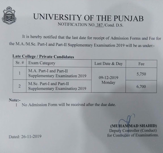 Punjab University MA/M.Sc Part.1 and 2 Supply 2019 Fee and Admission Schedule