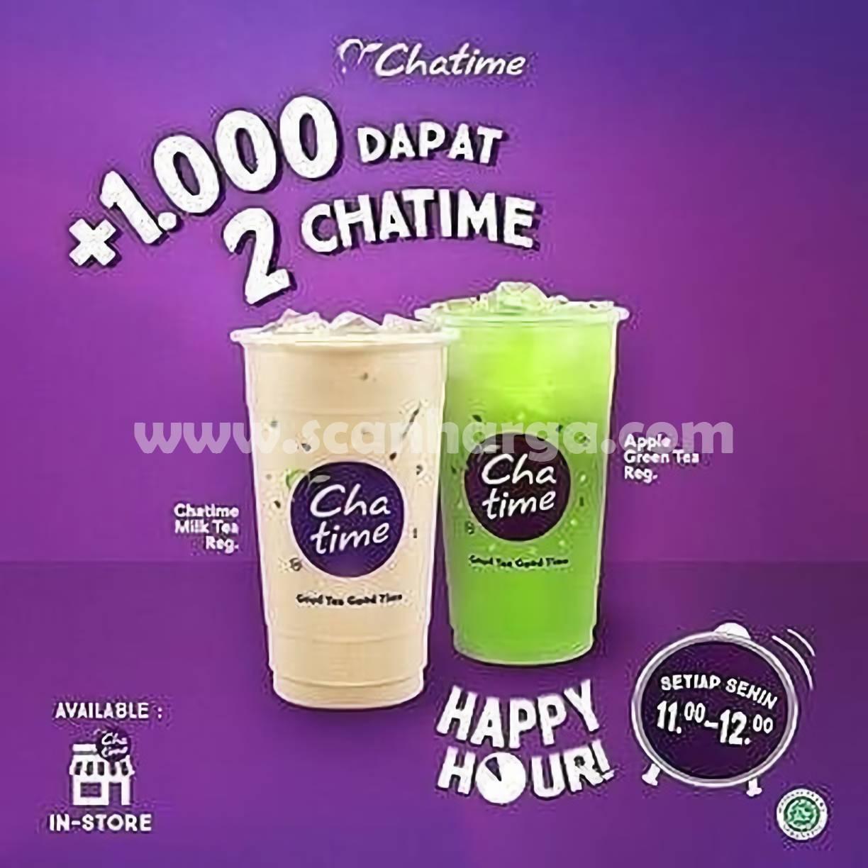 Promo Chatime Tambah + Rp 1.000 Dapat 2 Chatime* Happy Hour Setiap Senin*