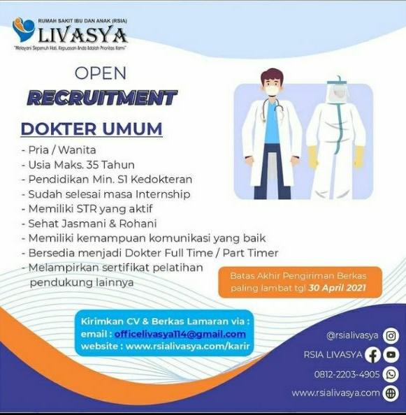 Loker Dokter RSIA LIVASYA Majalengka, Jawa Barat