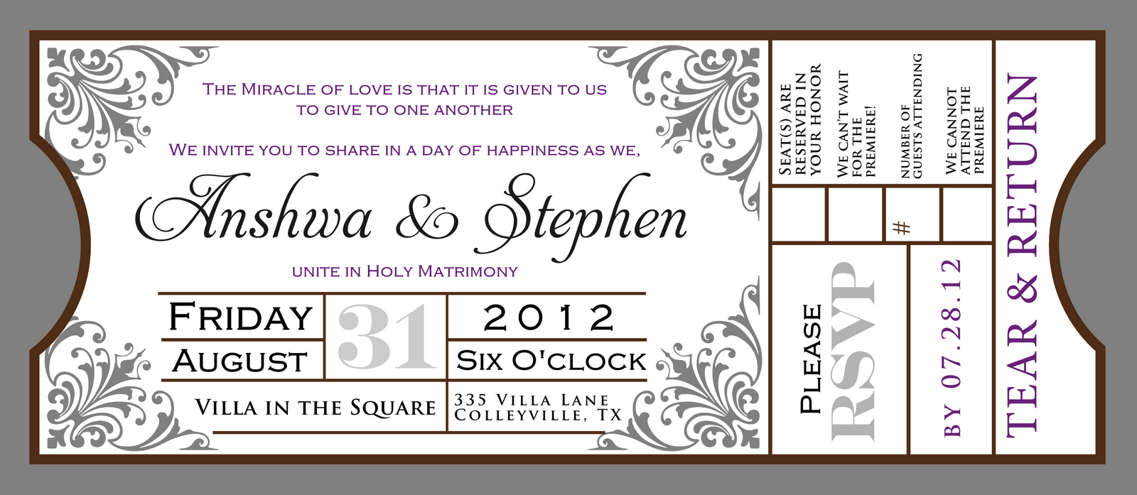 signatures by sarah wedding stationery for anshwa blank movie – Movie Ticket Invitations Template