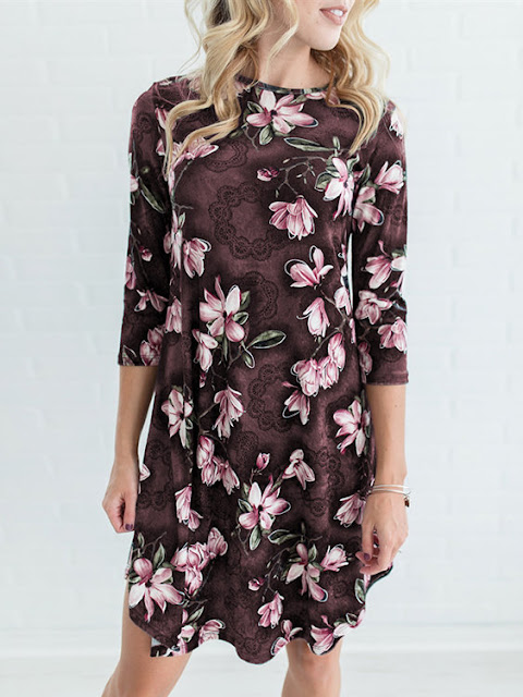 https://www.yoins.com/Coffee-Random-Floral-Print-34-Length-Sleeves-Midi-Dress-p-1234540.html