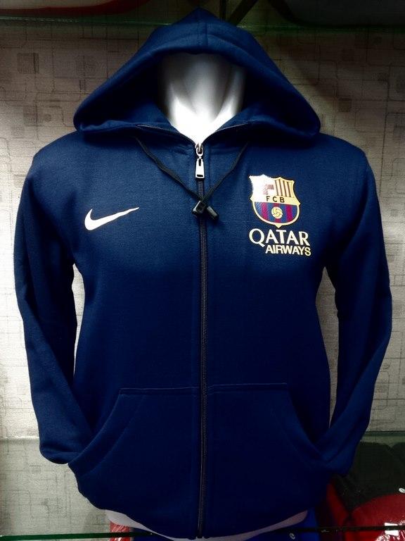 Jual jaket hoodie Barcelona warna Navy polos