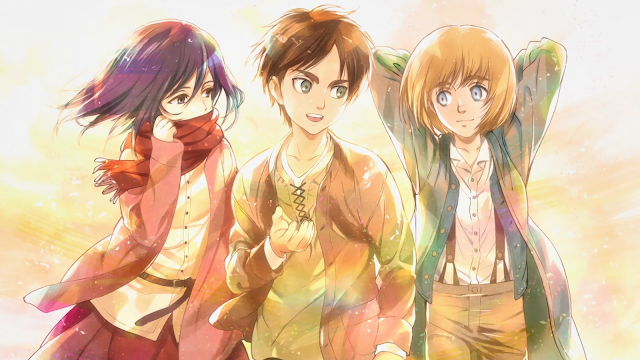 An image of Mikasa, Eren and Armin while they're young and wearing outfit before joining the military