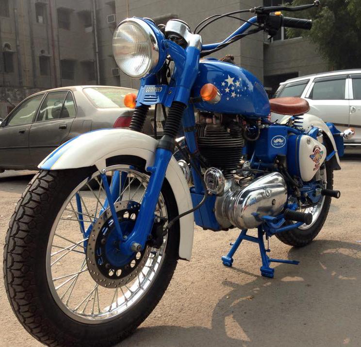 Blue Royal Enfield motorcycle.