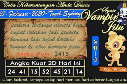 Syair Vampir Jitu Togel Sydney Kamis 27 Februari 2020