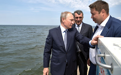Vladimir Putin at the ceremony of releasing Baikal omul fry into Lake Baikal.