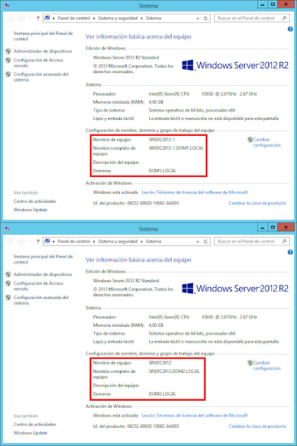 Información del sistema de Windows 2012 R2