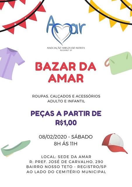 Bazar de 2020 da AMAR no próximo dia 08/02 no Nosso Teto em Registro-SP