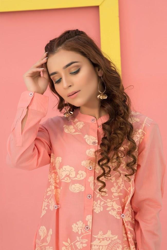 Warda lawn shirt Peach color