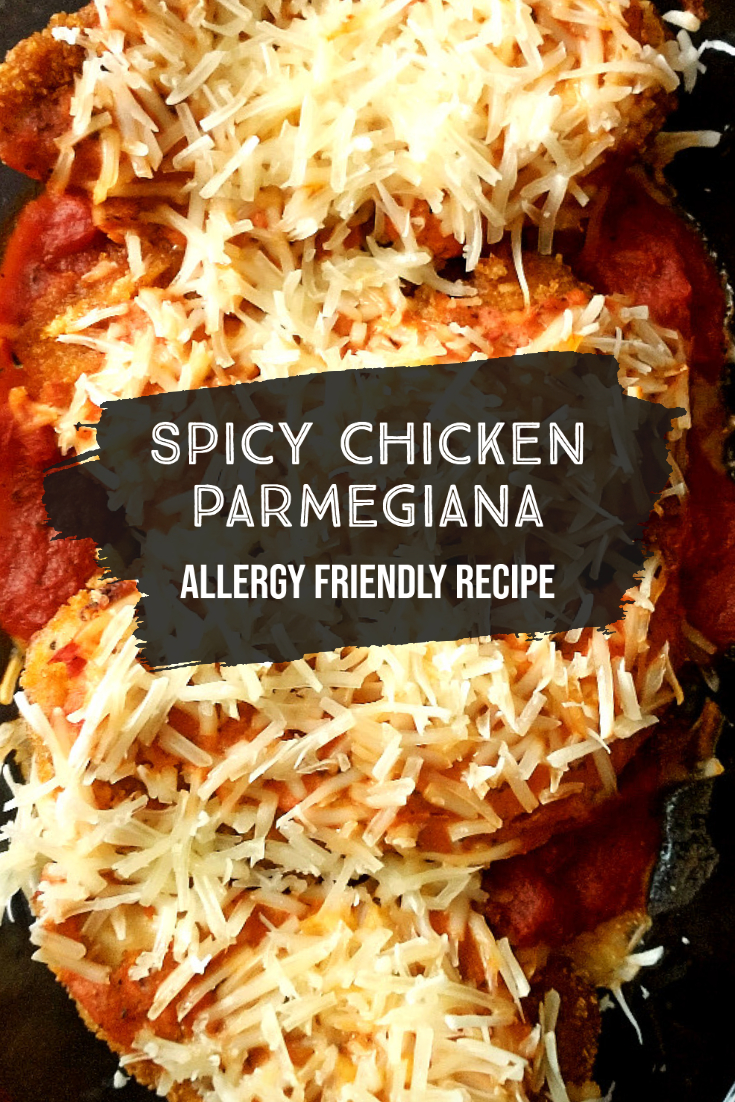 allergy friendly spicy chicken parmesan pin image